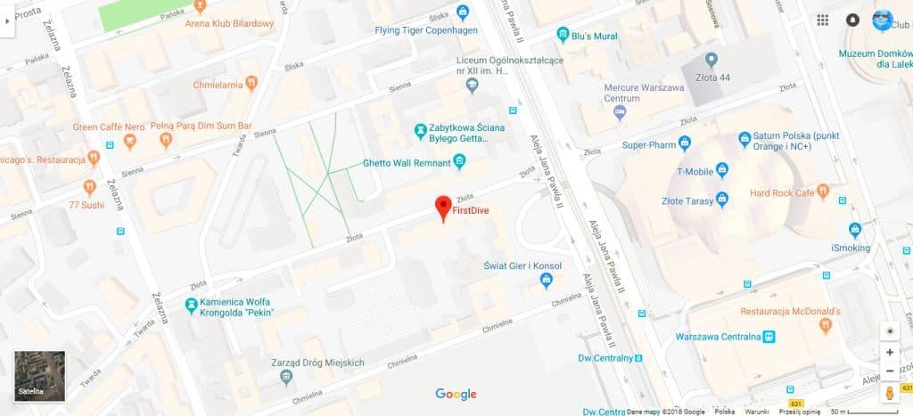 mapka dojazdu do centrum nurkowego firstdive.pl złota 65 warszawa